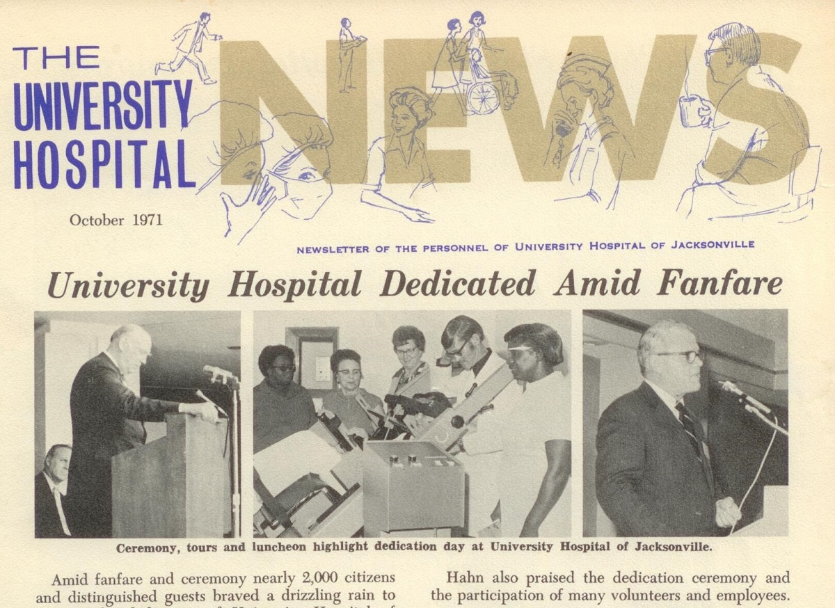 A newsletter announces the renaming to University Hospital.